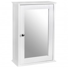White Wooden Wall Bathroom Cabinet Single Mirrored 1 Door Cupboard