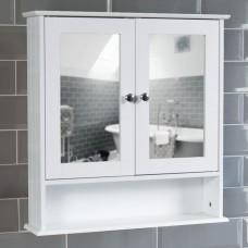 Single Mirrored Wooden Wall Bathroom Cabinet 1 Door White
