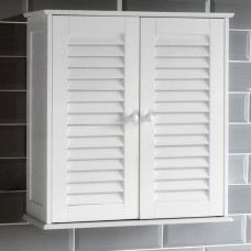 Wall Mounted Bathroom Cabinet Double Doors White Unit Cupboard Storage