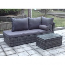 Outdoor Rattan Chaise Sofa Lounge with Coffee Table Garden Furniture Set