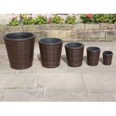 5 Pcs Hand Woven Tall Flower Pots Round Rattan Outdoor Planters Set Garden Furniture