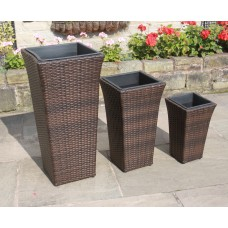 Portable Woven Basket Rattan Flower Pots 3 Set