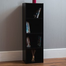 4 Tier Storage Unit Bookcase Black Wood