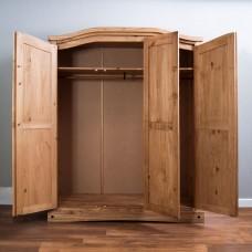 Solid Pine Wardrobe Three Door Wardrobe  H 186 x 150 cm
