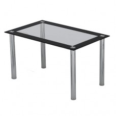 Rectangular Dining Glass Table Chrome Legs Kitchen Modern 4 Seater Furniture