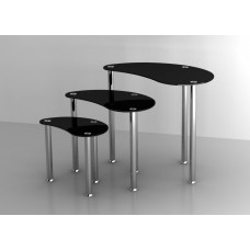 Set of 3 Glass Nesting Tables Stainless Steel legs Modern Home Furniture in Black