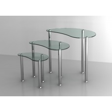 Set of 3 Clear Glass Nesting Tables Stainless Steel Legs Modern Home Furniture