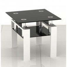 Square Glass Side End Coffee Table Tea Living Room Black&White
