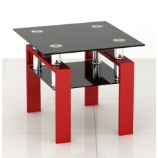 Black and Red Square Glass Side End Coffee Table Modern Furniture