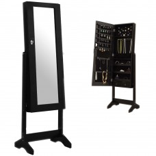 Large Jewellery Mirrored Cabinet Floor Free Standing Storage Bedroom Organiser