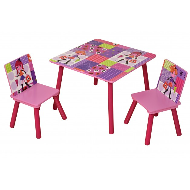Modern Girls Table with 2 Chairs Set Playroom Bedroom Stylish Furniture