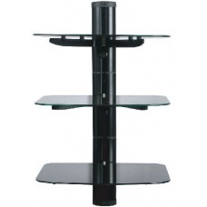 Tv Wall Mount Stand Glass Floating 3 Shelves Tier Bracket Back Panel