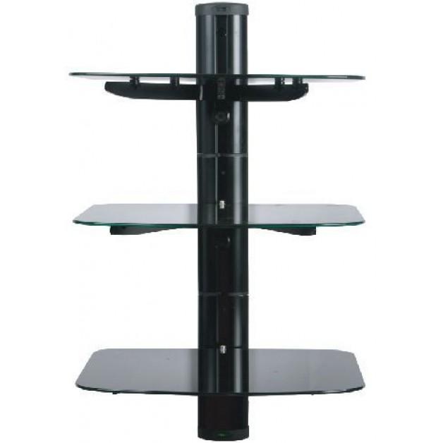 Tv Wall Mount Stand Glass Floating 3 Shelves Tier Bracket Back Panel