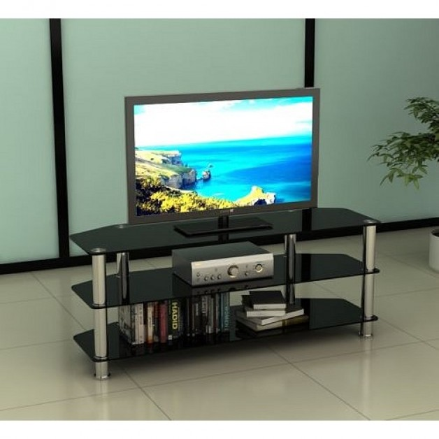 Universal High Gloss Glass And Stainless Steel Black Tv Stand 32 to 60 Inches