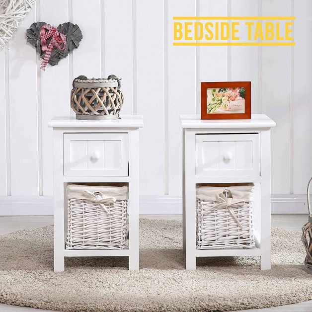 2 Pieces Set Small Bedside Table Woven Basket