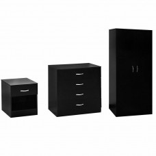 Set Wardrobe Chest Bedside Cabinet 3 Pieces Black