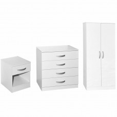 3 Piece Bedroom Set Chest Bedside Cabinet Wardrobe
