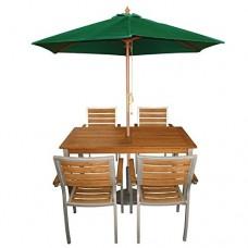3M Garden Parasol Wooden Sun Shade Outdoor Pulley Umbrella Canopy Green