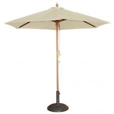 3M Wooden Garden Parasol Sun Shade Outdoor Pulley Umbrella Canopy Cream