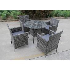 4 Seat Rattan Dining Set Round Table Outdoor Garden Luxury Furniture Grey
