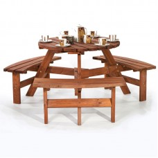 Garden 6 Seats Round Picnic Table Bench Pub Wooden Patio Furniture