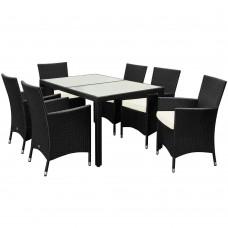 8 Seat Rattan Dining Set Rectangular Table Chairs Outdoor Garden Luxury Furniture