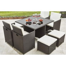 9 Piece Rattan Cube Set Garden Deluxe   All Weather Furniture Outdoor Glass Table Brown