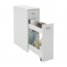Narrow Bathroom Cabinet with Shelves and Sliding Door