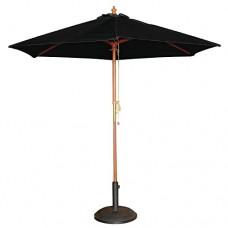 Black 3M Garden Parasol Wooden Sun Shade Outdoor Pulley Umbrella Canopy