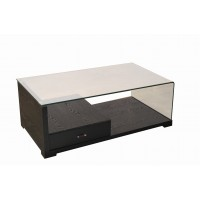 Black Coffee Table with Drawer Tempered Glass Shelf Storage for Living Room