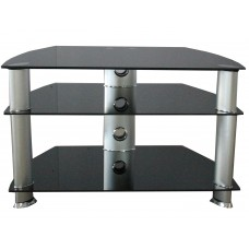 Cheap TV Stand Black TV Cabinet Glass and Chrome TV Stand