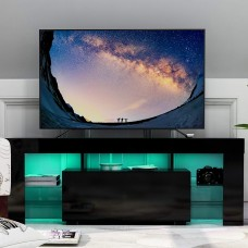 Tv Stand with Led Lighting Glossy MDF Unit Black