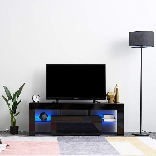 Black Tv Stand Led Lights Glossy Mdf Unit Modern Living Room Furniture