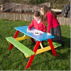 Colorful Kids Picnic Pine Table w/ Bench Set Primary School Party Garden Outdoor
