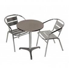 Garden Dining Set Patio Bistro Furniture Outdoor Aluminium Table w/ 2 Chairs