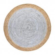 Grey Handmade Jute Rug Natural Reversible Round Floor Carpet