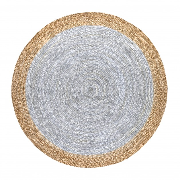 Grey Handmade Jute Rug Natural Reversible Round Floor Carpet