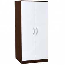 High Gloss Wardrobe w/ Hanging Rail Bedroom Home Furniture 2 Door Chest Walnut White