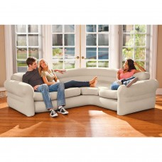 """Inflatable Corner Sofa Intex Living Room Couch Sectional Air Bed Portable 101""""x80"""""""