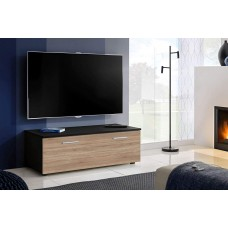 Low Rise Tv Stand Oak and Black Matt MDF Cupboards Door Sizes 32 to 50 inches