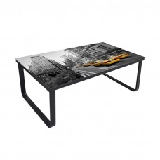 Metal Glass Coffee Table Glass Top Taxi