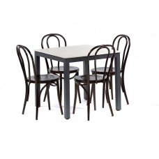 Outdoor Dining Square Grey Table with 4 Dark Copper Chairs Kitchen Furniture Set