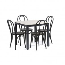 Outdoor Dining Square Grey Table with 4 Dark Grey Chairs Kitchen Furniture Set