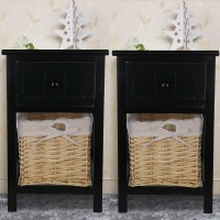 Pair of Shabby Chic Bedside Tables Nightstand Cabinet Drawer Wicker Basket Black