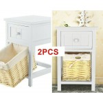 Pair of Wooden Bedside Chests Basket Units Shabby Chic Wicker Table Drawer