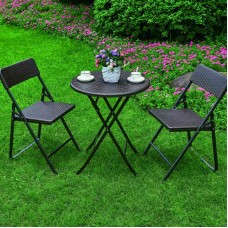 Patio Bistro Dining Chairs Table Set Folding Outdoor Round Garden Cafe Furniture