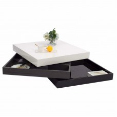 Rotating Coffee Table High Gloss Square Coffee Table 3 Tier Storage
