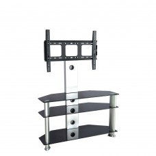 Silver Black TV Stand With Bracket Shelves Glass Tier Storage Unit