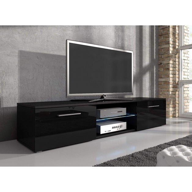 Slim Low Rise Tv Stand Painted Wood Effect Led Light Sizes 32 to 50 inches Option