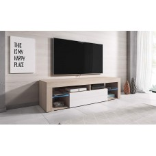 Slim Tv Stand Sonoma Painted Wood Effect Led Light Sizes up to 60 inches High Gloss White